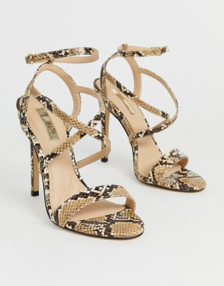 Office Hooria snake strappy heeled sandals