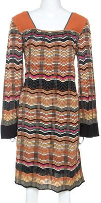 M Missoni Multicolor Chevron Knit Wool Blend Dress L