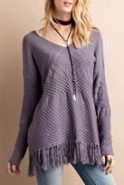 Easel Fringe Hem Sweater