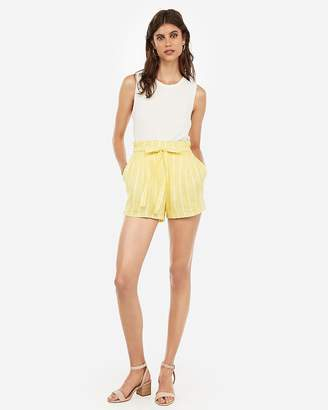 Express Super High Waisted Striped Paperbag Shorts
