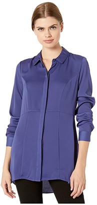 BCBGeneration Tunic Length Long Sleeve Woven Top YQG1271736 (Twilight Blue) Women's Clothing