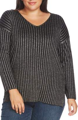 Vince Camuto Metallic Stripe Ribbed V-Neck Sweater