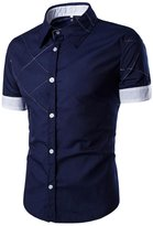 SUPPION Men's Slim Fit Contrast Short Sleeve Casual Dress Shirts (M, )