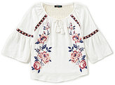 Takara Big Girls 7-16 Rose-Embroidered Bell-Sleeve Top