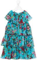 Dolce & Gabbana rose print tiered dress - kids - Silk/Polyester/Spandex/Elastane/Viscose - 6 yrs