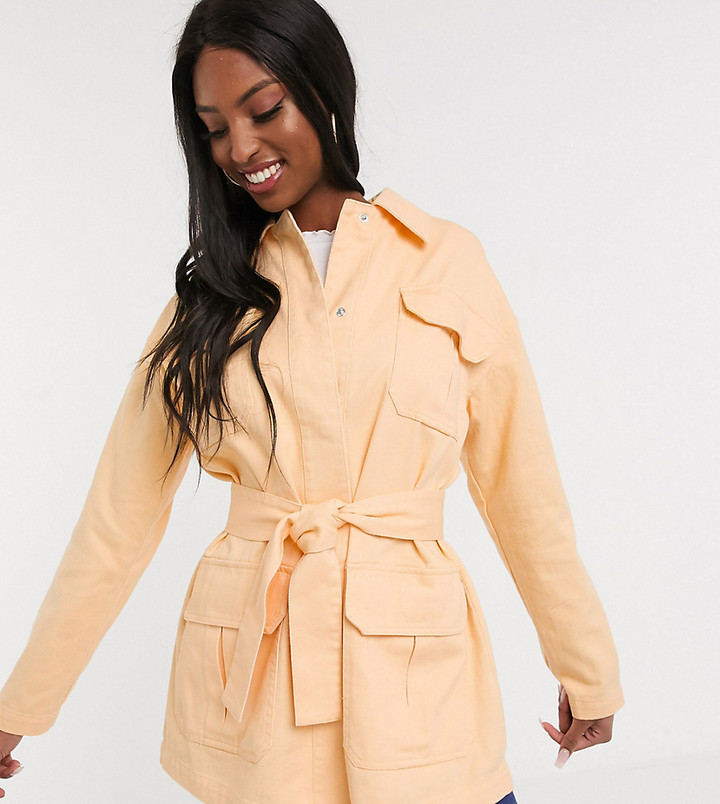 Asos Tall ASOS DESIGN Tall soft cotton utility jacket in buttermilk