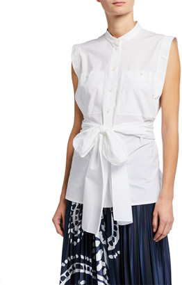 Escada Norrela Sleeveless Tie-Waist Shirt