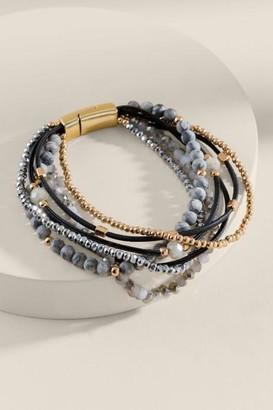 francesca's Amanda Beaded Wrap Bracelet - Black