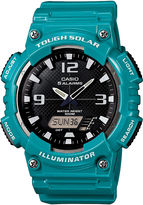 Casio Mens Black Dial Teal Resin Strap Solar Sport Watch AQ-S810WC-3A