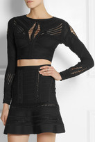 Crochet-paneled cropped bandage top