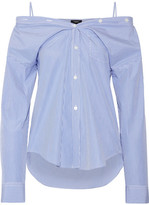 Theory Tamalee Off-the-shoulder Striped Cotton-poplin Shirt - Blue