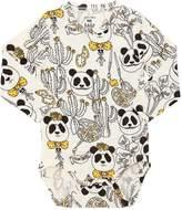 Mini Rodini Panda Printed Jersey Bodysuit