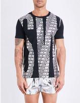 Moschino Foiled-logo stretch-cotton t-shirt