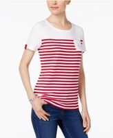 Karen Scott Cotton Striped Studded-Anchor Top, Created for Macy's