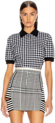 Burberry Gingham Check Polo Top in Black | FWRD