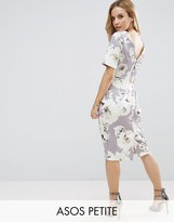 Asos Smart Dress With V Back In Grey Floral Print