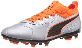 Puma Men's ONE 3 LTH AG Footbal Shoes, Silver-Shocking Orange Black