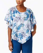 Alfred Dunner Arizona Sky Leaf-Print Poncho Top, Created for Macy's