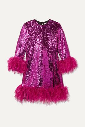 16Arlington Feather-trimmed Sequined Crepe Mini Dress - Fuchsia