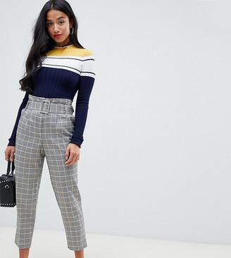 Miss Selfridge Petite paperbag waist pants in gray check