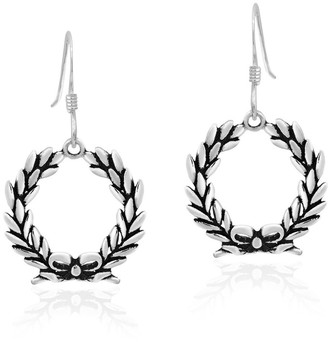 Aeravida Handmade Festive Holiday Wreath and Bow Sterling Silver Dangle Earrings