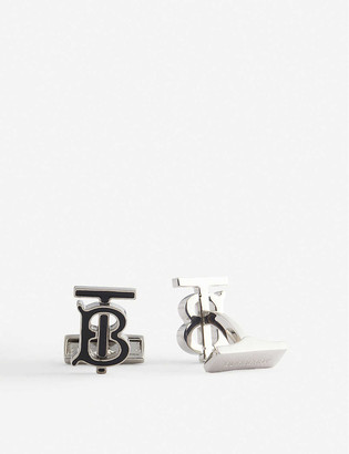Burberry Logo-engraved enamelled brass cufflinks