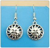 Nobrand No brand Simple Vintage 17*17mm Sun Face Charm Dangle Earring, Charming Drop Earring