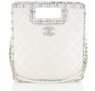 Chanel Cut Out Handle Shopping Tote Quilted Aged Calfskin with Tweed Small