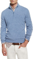 Brunello Cucinelli Cashmere Quarter-Zip Pullover Sweater, Light Blue