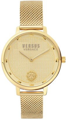 Versace Gold Dial Gold Stainless Steel Mesh Strap Ladies Watch