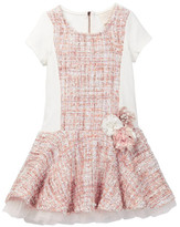 Hannah Banana Fit & Flare Tweed Dress With Floral Trim (Little Girls)