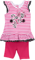 Pink Stripe 'Daddy's Girl' Angel-Sleeve Top & Leggings - Infant