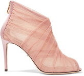 Dolce & Gabbana Keira Mesh And Tulle Ankle Boots - Pastel pink