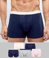 Asos Trunks In Navy Pink & Gray 5 Pack SAVE