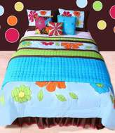 Bacati Valley of Flowers Turquoise and Lime Twin Quilt