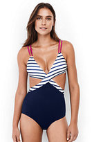 Lands' End Women's Wrap One Piece Swimsuit-Navy Storm Starry Dot