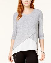 Bar III Crossover Contrast Sweater, Created for Macy's