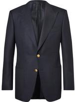 Tom Ford Blue Windsor Basketweave Wool And Mohair-blend Blazer - Navy