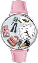 Whimsical Watches Personalized Teen Girl Womens Silver-Tone Bezel Pink Leather Strap Watch