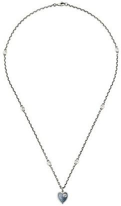 Gucci GG Hearts Sterling Silver & Light Blue Enamel Necklace