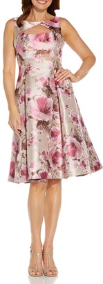 Adrianna Papell Metallic Floral Jacquard Fit & Flare Cocktail Dress