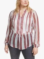 Junarose Curve Ebba Stripe Blouse, Madder Brown/Multi