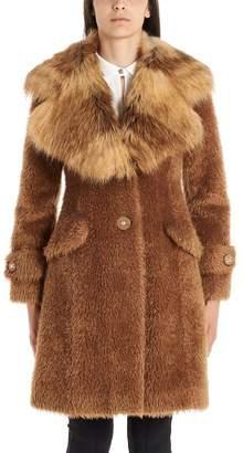 Elisabetta Franchi Fur Trim Teddy Coat