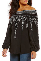 Chelsea & Theodore Off the Shoulder Embroidered Blouse
