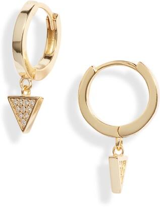 Argentovivo Cubic Zirconia Triangle Drop Huggie Hoop Earrings
