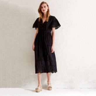 The White Company Cotton Lace Boho Dress, Black, 4