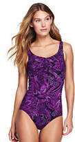 Lands' End Women's Petite Slender Underwire Carmela One Piece Swimsuit-Blackberry/Rose Paisley