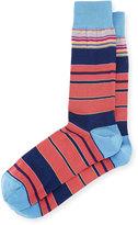 Bugatchi Striped Cotton-Blend Socks, Coral