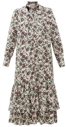 La DoubleJ Good Witch Scrambled Floral-print Pussy-bow Dress - Womens - Multi