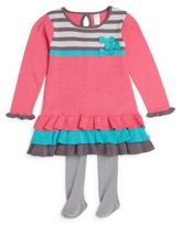 Petit Lem Baby's Tiered Sweater Dress & Tights Set